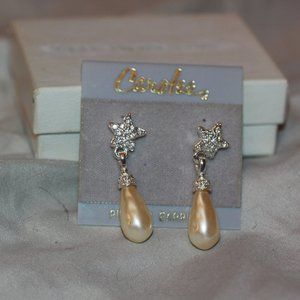 Carolee Faux Pearl & Rhinestone Earrings